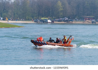 OLDENZAAL NETHERLANDS - APRIL 9, 2017: Unknown people enjoying a lifeboat tour during a demonstration
