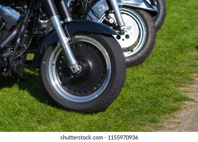 OLDENZAAL NETHERLANDS - APRIL 9, 2017: Closeup of wheels of Harley-Davidson motorbikes