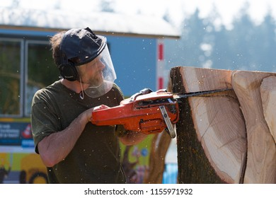 OLDENZAAL NETHERLANDS - APRIL 9, 2017: Closeup of a lumberjack in action during a jigsaw demonstration