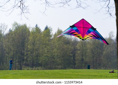 OLDENZAAL NETHERLANDS - APRIL 9, 2017: Unknown man brings his kite into the air