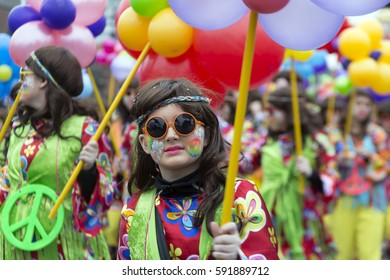 OLDENZAAL, NETHERLANDS - FEBRUARY 26, 2017. Flower Power during carnival parade.