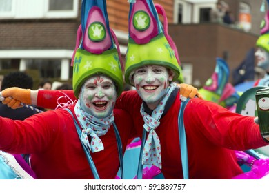 OLDENZAAL, NETHERLANDS - FEBRUARY 26, 2017. Two dress up boys during carnival parade.