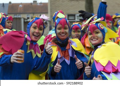 OLDENZAAL, NETHERLANDS - FEBRUARY 26, 2017. Group young women dress up like an chicken during carnival parade.