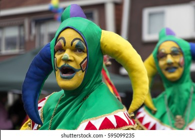 OLDENZAAL, NETHERLANDS - FEBRUARY 26, 2017. Two men of The Mutineers having fun during the Carnival parade.