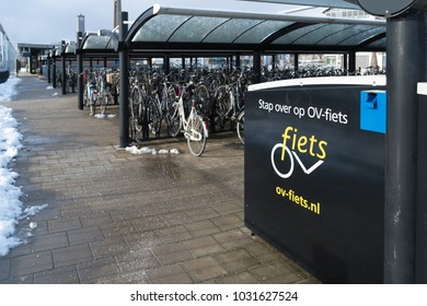 OLDENZAAL, NETHERLANDS - JANUARY 7, 2017: Storage of Ov-fiets (Ov-bicycle) at the Oldenzaal train station. OV-fiets is a Dutch bike rental system.