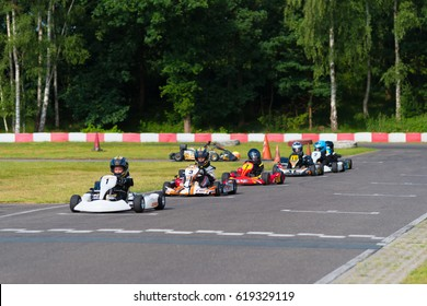 OLDENZAAL, NETHERLANDS - JUNE 7, 2016: Kids in karts waiting for the launch