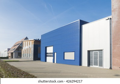 OLDENZAAL, NETHERLANDS - OCTOBER 31, 2015: Outstanding blue warehouse on a small business park in the netherlands