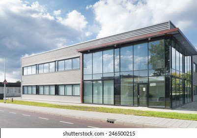 exterior office. OLDENZAAL, NETHERLANDS - SEPTEMBER 27, 2014: Exterior Of A Newly Build  Modern Office Exterior T