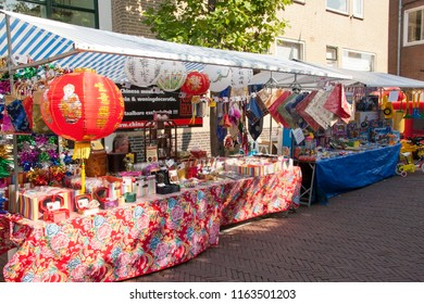 OLDENZAAL, OVERIJSSEL / NETHERLANDS - AUGUST 16 2006: Stall with Chinese products during Boeskool is Lös festival.