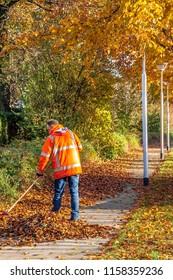 OLDENZAAL, OVERIJSSEL / NETHERLANDS - NOVEMBER 21 2013: Municipal employee rake autumn leaves from walking path.