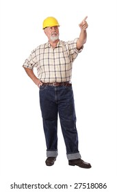 Older construction worker pointing ahead toward copy space
