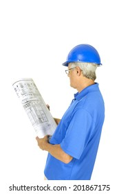 older contractor studying building plans, isolated on white