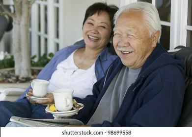 Older Couple Drinking Tea