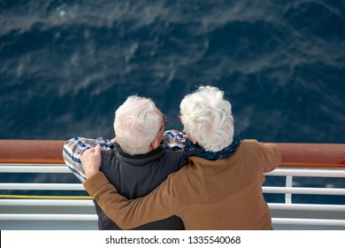 Older couple on a cruise vacation trip.