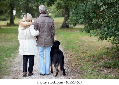 Older couple walking a dog