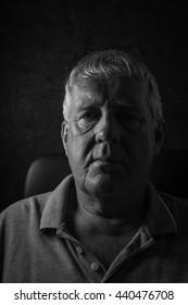 Older depressed man, selective focus,