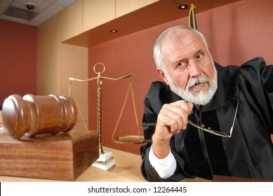 Older judge thinking and making up his mind at trial