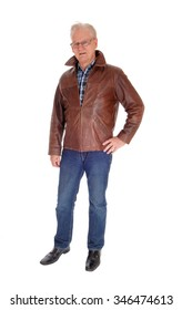 An older man with glasses and a brown leather jacket standingisolated for white background.