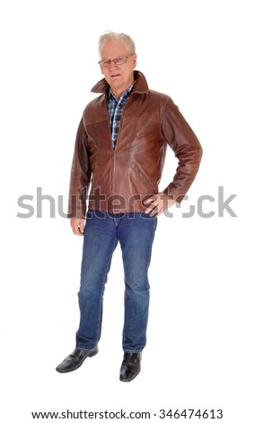 33464d972e21 An older man with glasses and a brown leather jacket standing isolated for  white background.