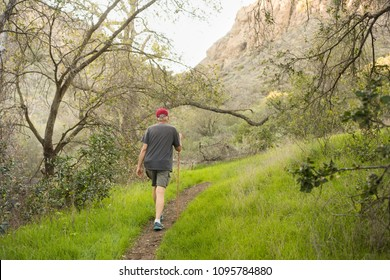 Older man hiking with stick on trail in California