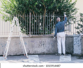 Older man painting a fence with ladder