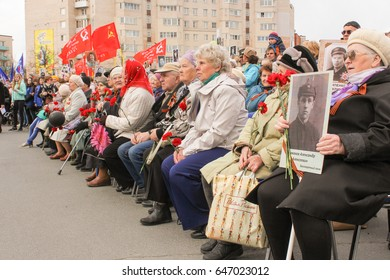 Older people at a rally. Kirishi, Russia - 9 May, 2017. Holding a festive rally dedicated to the Victory Day.