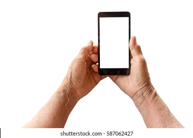 older person, hand holding smart phone with blank white screen isolated