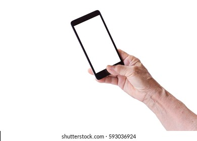 older person, hand holding smart phone with blank white screen, isolated