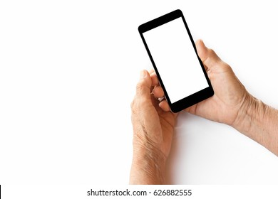 older person, hand holding smartphone white screen on white background