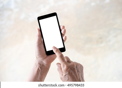 older person, hand holding and touch smartphone with blank