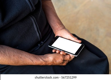 older person, hand holding and touch smartphone white screen