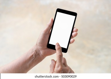 older person, hand using phone white screen