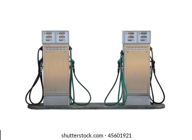 Older style fuel pumps at a petrol garage / gas station, isolated on a pure white background