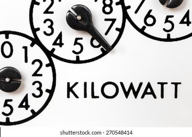 Older style kilowatt hour meter dials or registers or pointers