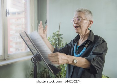 Older woman opera singer
