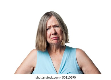 Older woman upset, saddened and disappointed by some news