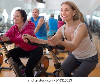 older women are engaged in the gym