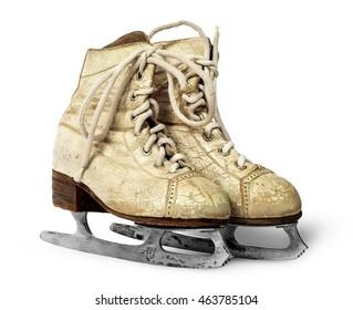 Older women skates near isolated on white background