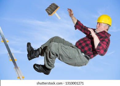 An older worker falls while working from a ladder