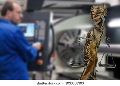 an older worker and a justitia. symbol for employment law