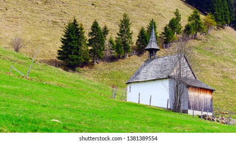 The oldest alp chapel in the canton of Lucerne on the Brüedere Alp in the Entlebuch UNESCO Biosphere Reserve on a spring day
