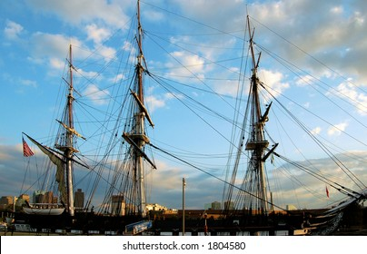 The oldest commissioned ship in the Navy stands guard at Boston Harbor.