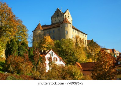 The oldest inhabited castle in Germany, Old castle Meersburg at Bodam Lake, tourist attraction in autumn coloring.