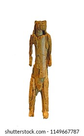 The oldest piece of sculpture in existance, the Lion Man of Hohlenstein carved from mammoth ivory. Aged at about 40,000 years old. Isolated against a white background