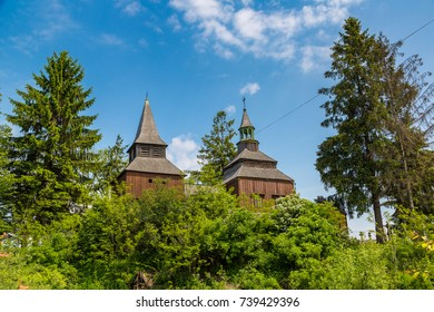 The oldest wooden church in Ukraine, Ivano-Frankivsk Region in a beautiful summer day, Ukraine