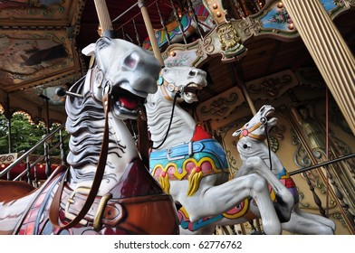 Old-fashion  merry-go-round with horses