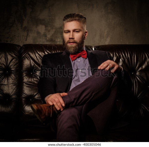 Oldfashioned Bearded Man Sitting Comfortable Leather Stock ...