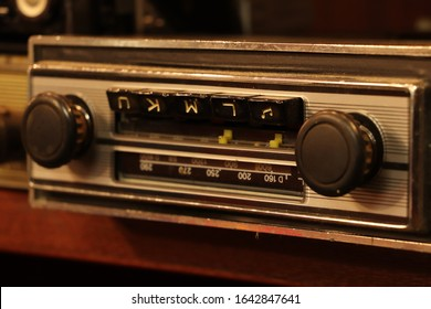 The old-fashioned car radio from the past