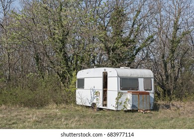 Old-fashioned caravan in the wilderness inside the peninsula of Istria