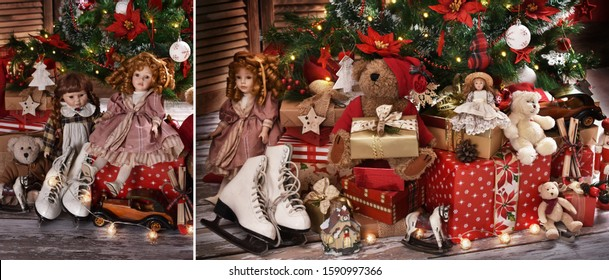 old-fashioned dolls, teddy bears, cars and other toys as presents under Christmas tree